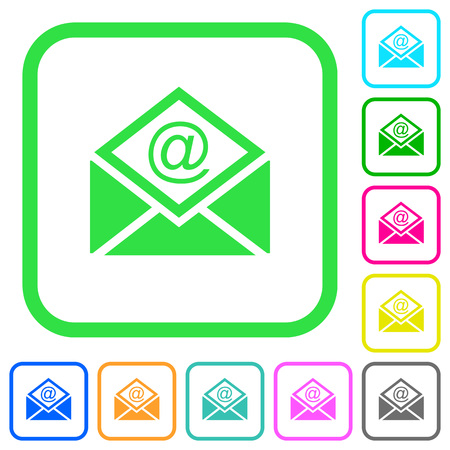 Open mail with email symbol vivid colored flat icons in curved borders on white background.