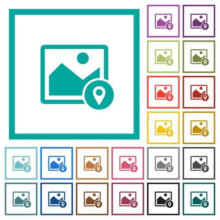 Image landmark GPS map location flat color icons with quadrant frames on white background.