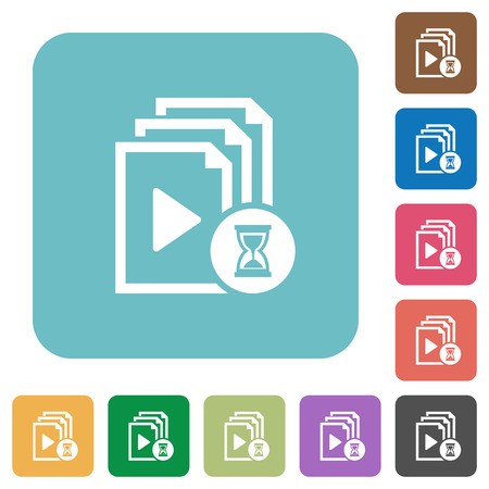 Preparing playlist white flat icons on color rounded square backgrounds