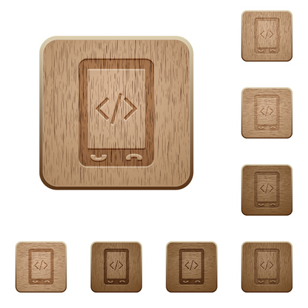 Mobile scripting on rounded square carved wooden button styles Stock Vector - 95374269