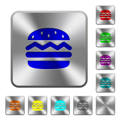 Single hamburger engraved icons on rounded square glossy steel buttons