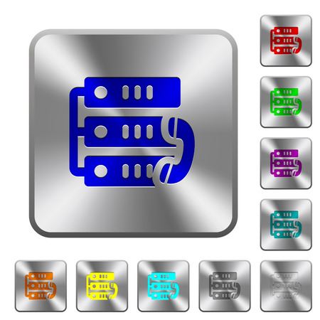 VoIP call engraved icons on rounded square glossy steel buttons