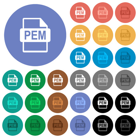 PEM file format multi colored flat icons on round backgrounds. Included white, light and dark icon variations for hover and active status effects, and bonus shades on black backgounds.