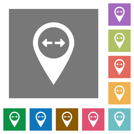 GPS map location distance flat icons on simple color square backgrounds