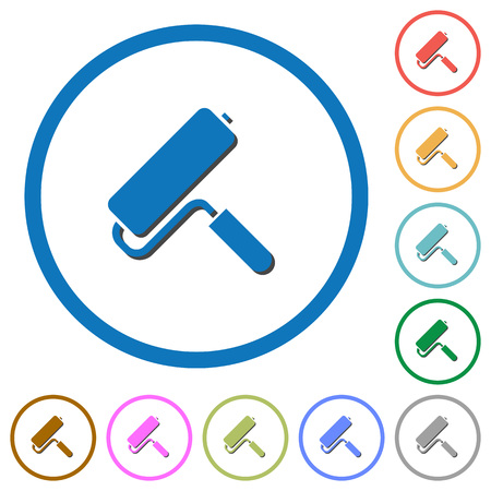 Paint roller flat color vector icons with shadows in round outlines on white background.
