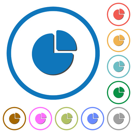 Pie chart flat color vector icons with shadows in round outlines on white background. Illustration