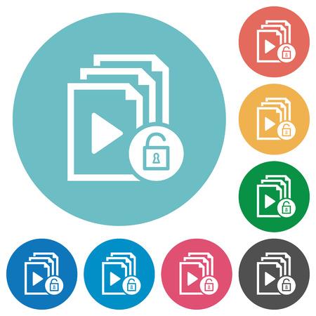 Unlock playlist flat white icons on round color backgrounds Illustration