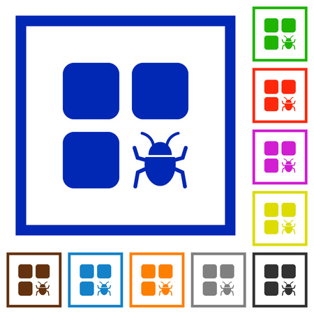 Component bug flat color icons in square frames on white background.