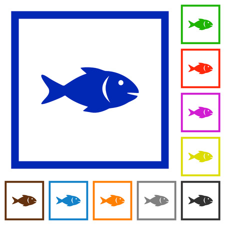 Fish flat color icons in square frames on white background