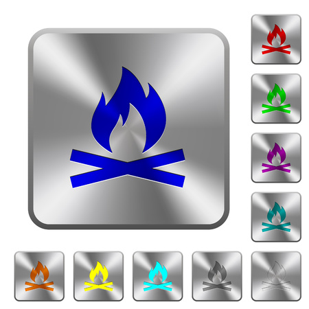 Camp fire engraved icons on rounded square glossy steel buttons Illustration