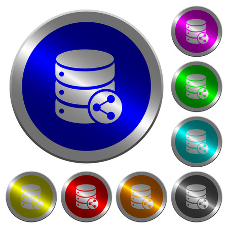 Database table relations icons on round luminous coin-like color steel buttons