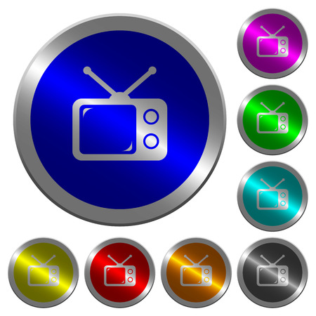 Vintage retro television icons on round luminous coin-like color steel buttons Illustration