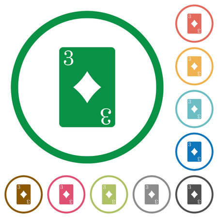 Three of diamonds card flat color icons in round outlines on white background