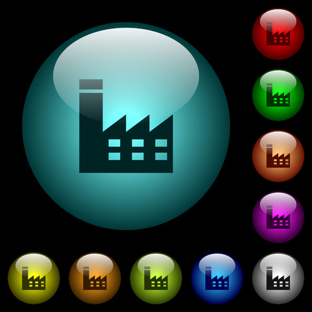 Factory building icons in color illuminated spherical glass buttons on black background. Can be used to black or dark templates