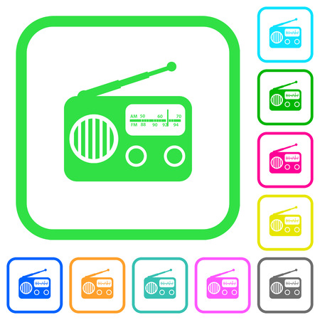 Vintage retro radio vivid colored flat icons in curved borders on white background