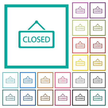 Closed sign flat color icons with quadrant frames on white background Illustration