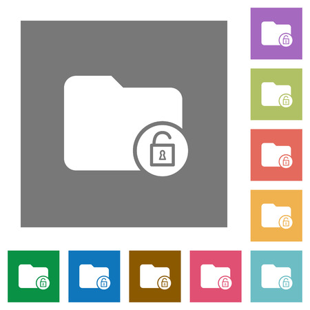 Unlock directory flat icons on simple color square backgrounds