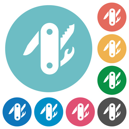 Swiss army knife flat white icons on round color backgrounds