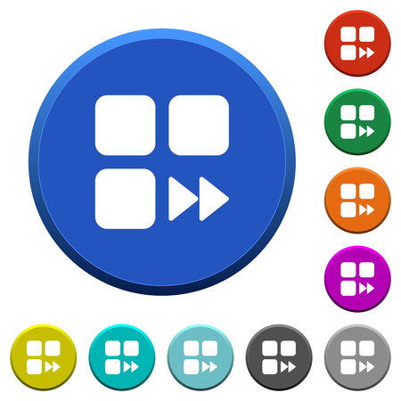 Component fast forward round color beveled buttons with smooth surfaces and flat white icons.