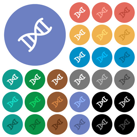 DNA molecule multi colored flat icons on round backgrounds. Included white, light and dark icon variations for hover and active status effects, and bonus shades on white background.