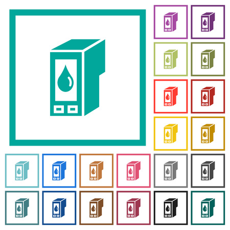Ink cartridge flat color icons with quadrant frames on white background. 版權商用圖片 - 95577659