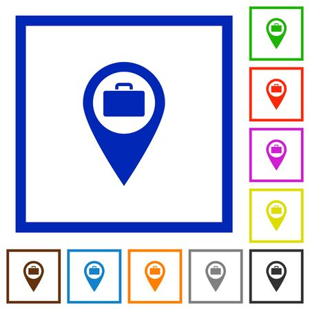 Baggage storage GPS map location flat color icons in square frames on white background. Illustration