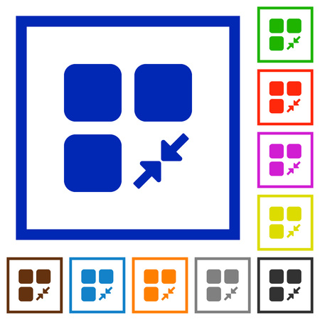 Reduce component flat color icons in square frames on white background Illusztráció