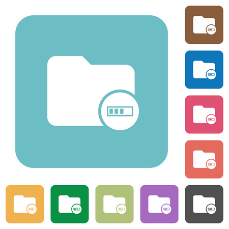 Directory processing white flat icons on color rounded square backgrounds