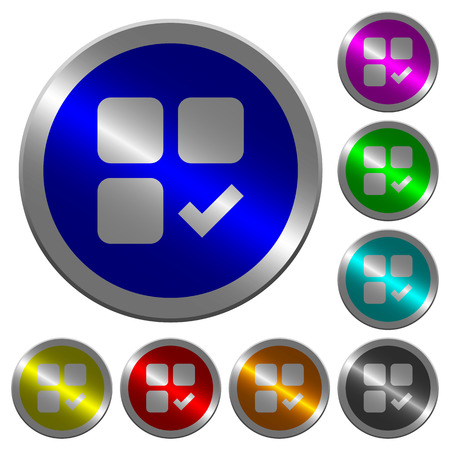 Component ok icons on round luminous coin-like color steel buttons Illusztráció