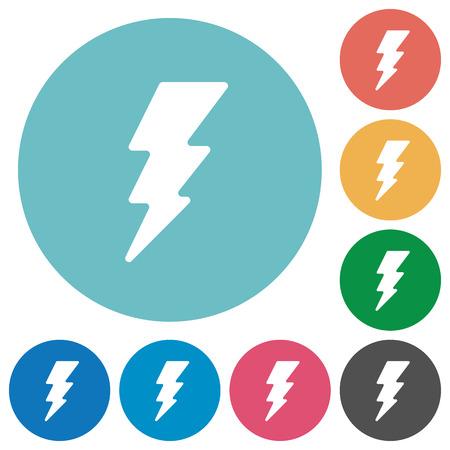 Lightning energy flat white icons on round color backgrounds