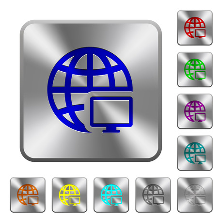 Remote terminal engraved icons on rounded square glossy steel buttons