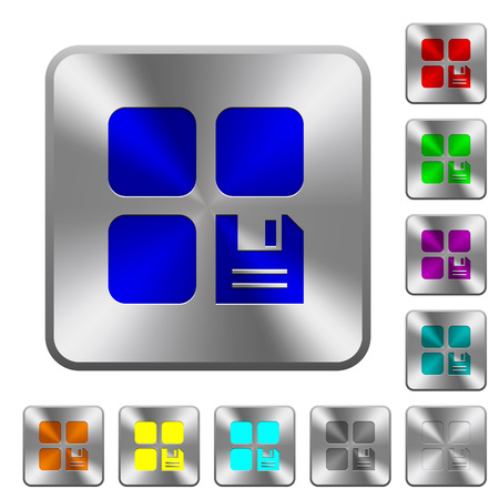 Save component engraved icons on rounded square glossy steel buttons