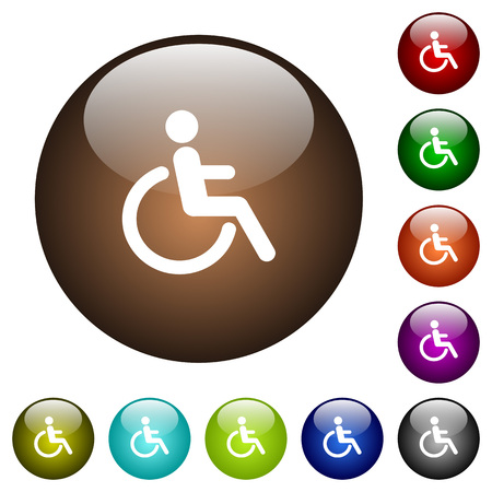 Disability white icons on round color glass buttons