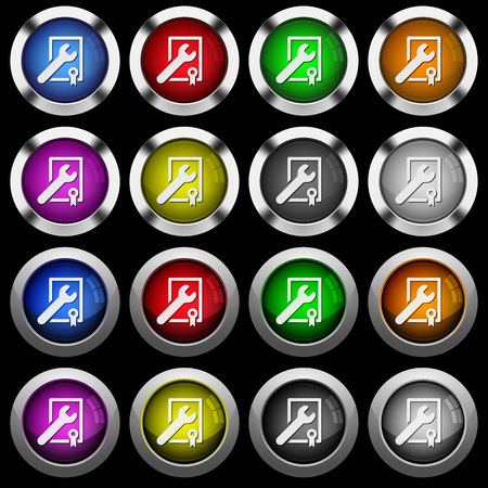 Award winning services white icons in round glossy buttons with steel frames on black background.