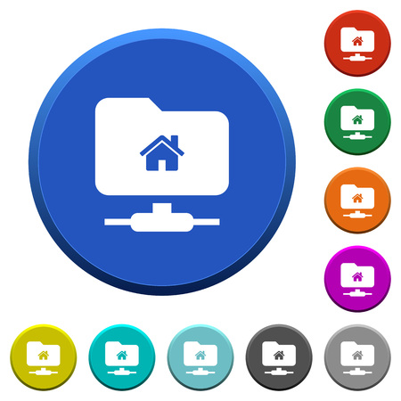 FTP home directory round color beveled buttons with smooth surfaces and flat white icons
