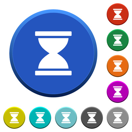 Hourglass round color beveled buttons with smooth surfaces and flat white icons.