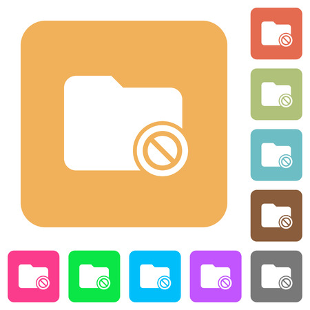Disabled directory flat icons on rounded square vivid color backgrounds.