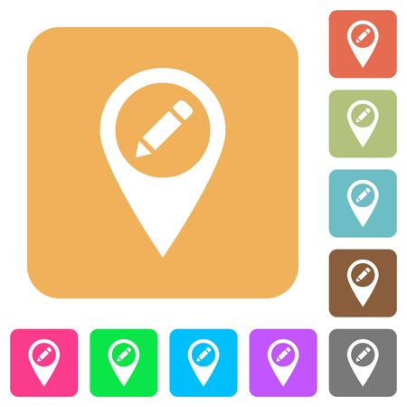 Rename GPS map location flat icons, location map with pencil icon on rounded square vivid color backgrounds.