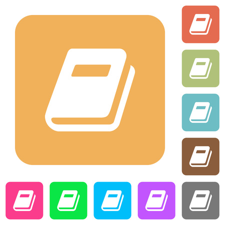 Personal diary flat icons on rounded square vivid color backgrounds. Illustration
