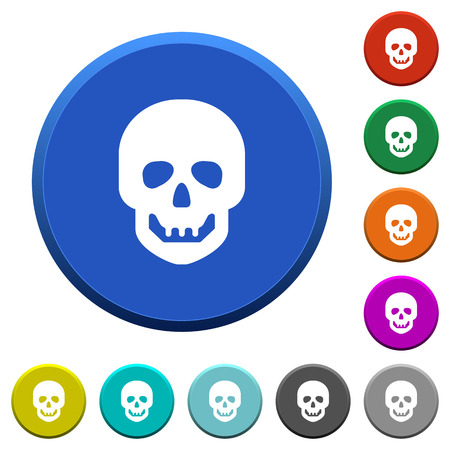 Human skull round color beveled buttons with smooth surfaces and flat white icons Ilustracja