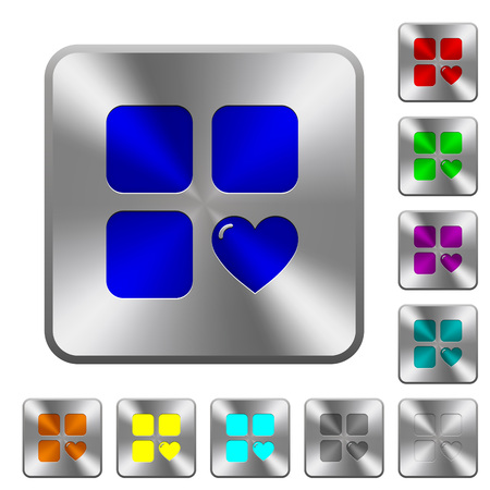 Favorite component engraved icons on rounded square glossy steel buttons