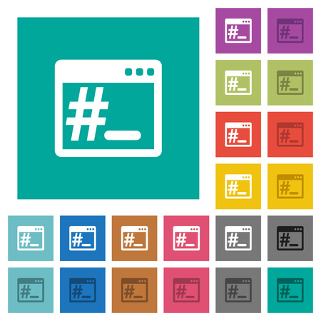Linux root terminal multi colored flat icons on plain square backgrounds. Illustration