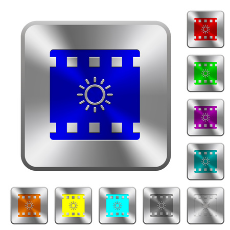 Movie brightness engraved icons on rounded square glossy steel buttons