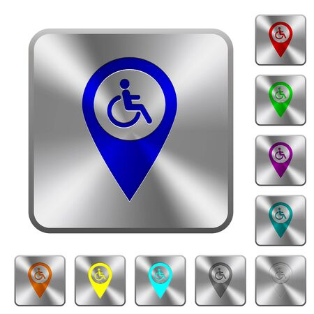 Disability accessibility GPS map location engraved icons on rounded square glossy steel buttons