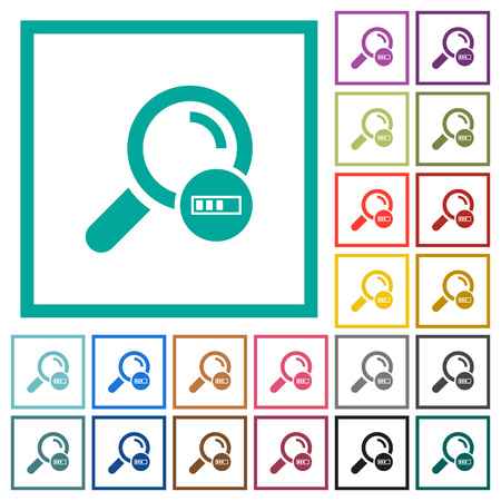 Search in progress flat color icons with quadrant frames on white background Illustration