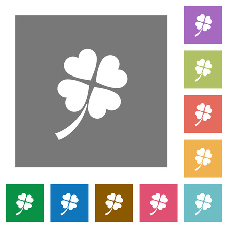 Four leaf clover flat icons on simple color square backgrounds