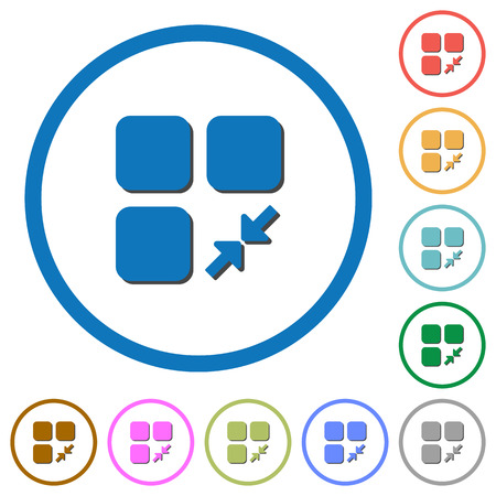 Reduce component flat color vector icons with shadows in round outlines on white background