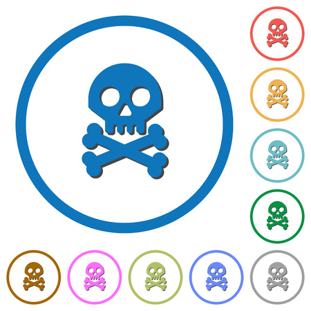 Skull with bones flat color vector icons with shadows in round outlines on white background Illustration