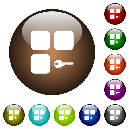 Secure component white icons on round color glass buttons