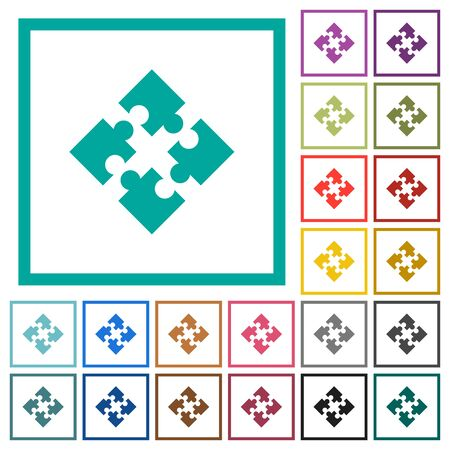 Modules flat color icons with quadrant frames on white background